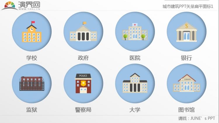 【矢量图标】蓝色城市建筑扁平化ppt矢量图标